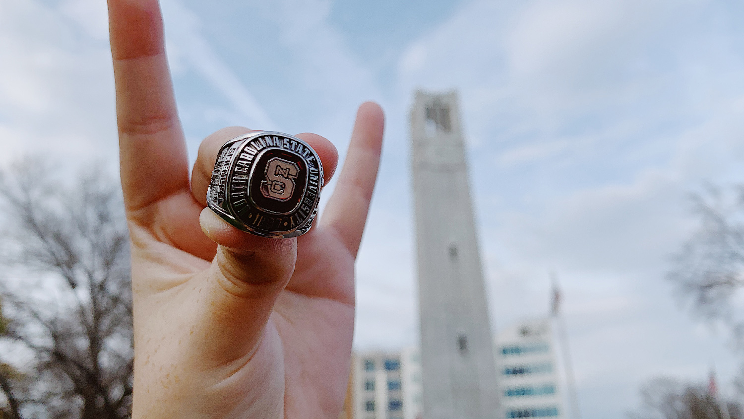 NC State class ring in front of the belltower