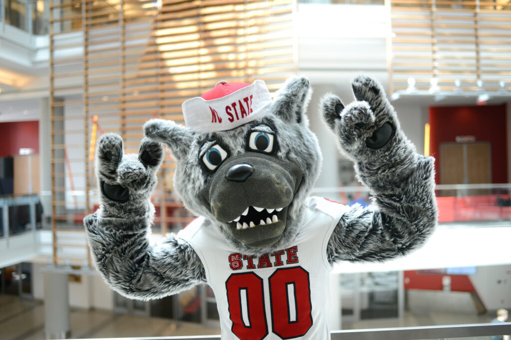 Mr. Wuf shows his school spirit in the Talley Student Union. (Photo by Marc Hall)