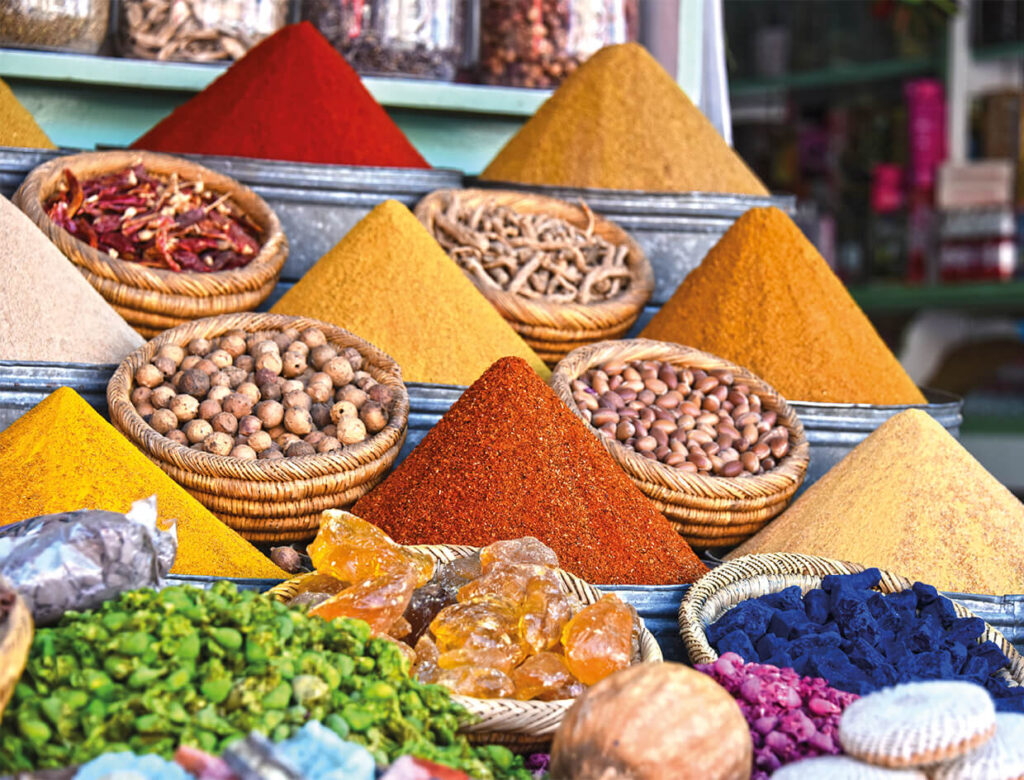 Spices in a street market in Marrakesh
