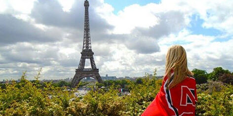 NC State alum with Eiffel Tower in background