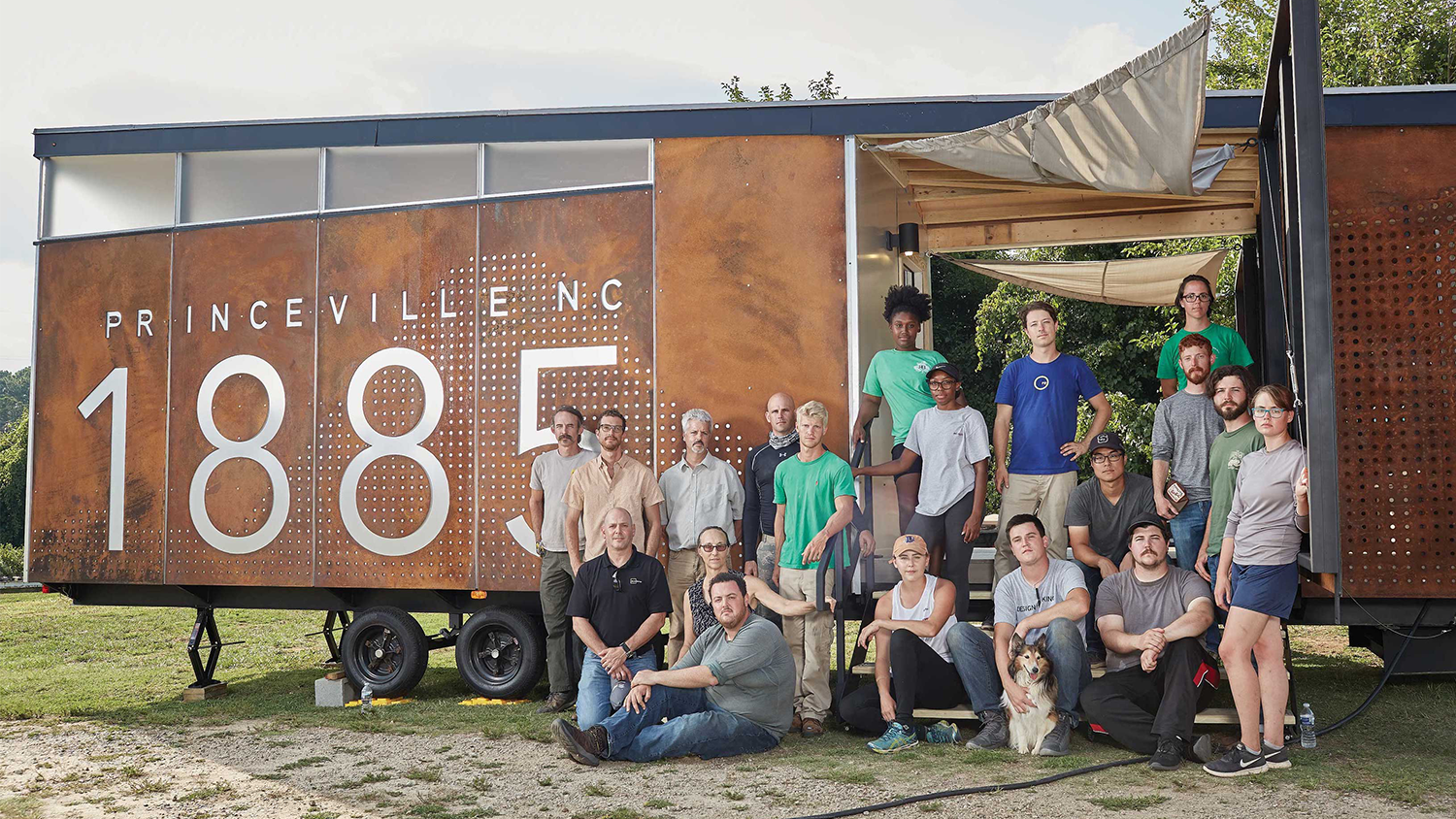 College of Design students pose outside of the Princeville mobile museum