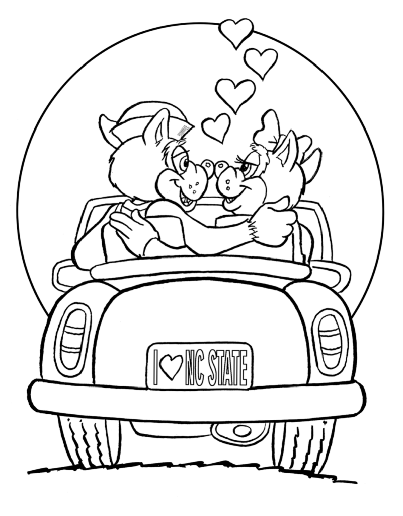 Coloring page of Mr. and Ms. Wuf in a car on Valentine's Day.