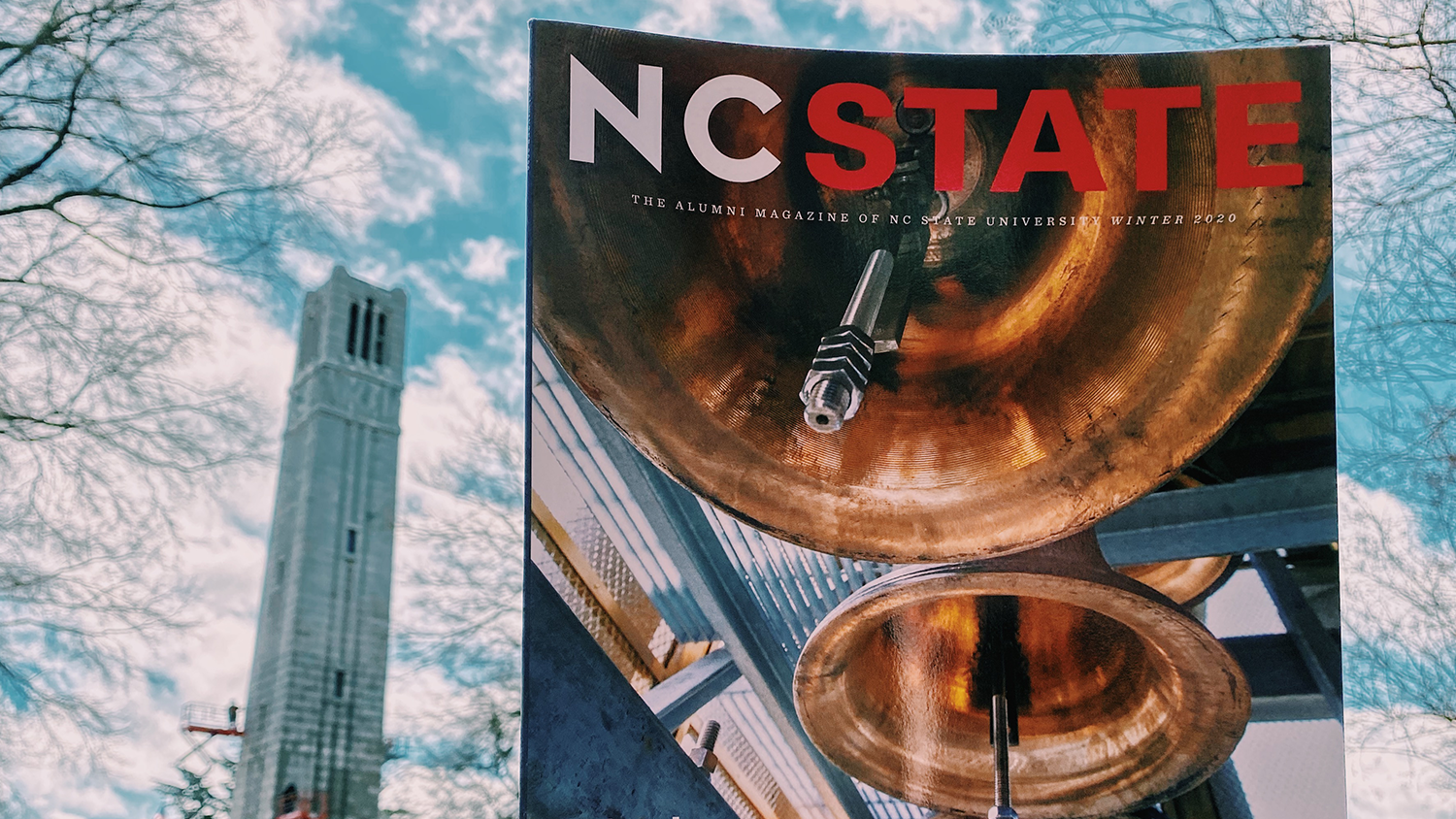 The Autumn 2020 issue of Nc State Magazine in the Free Expression Tunnel