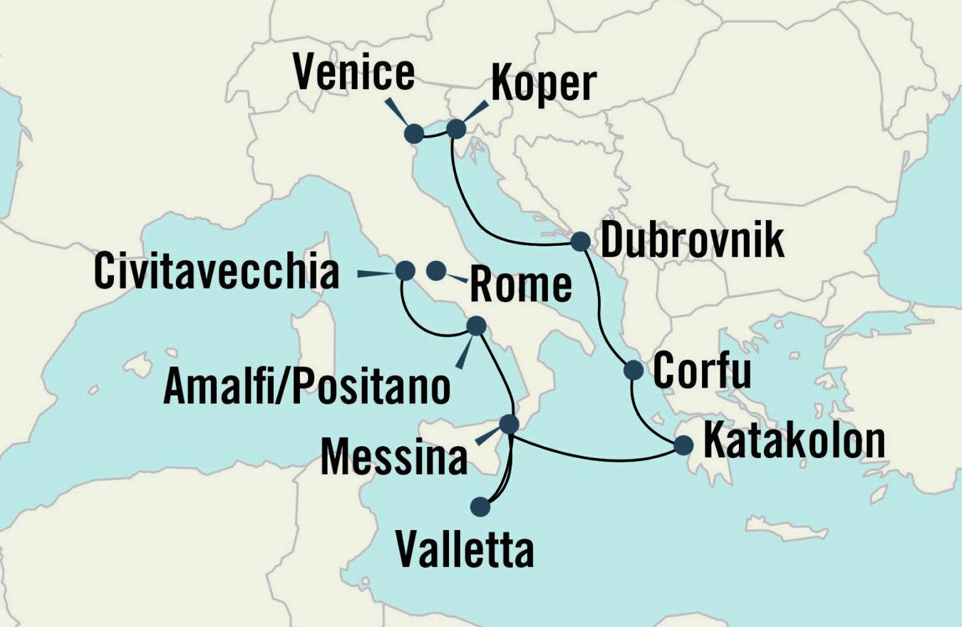 Gladiators to Gondolas Map